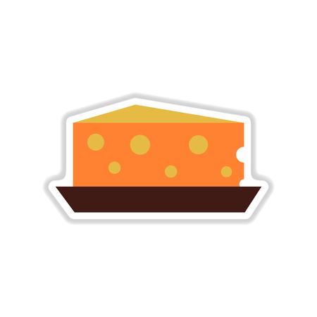 Paper sticker on white background Dutch cheese