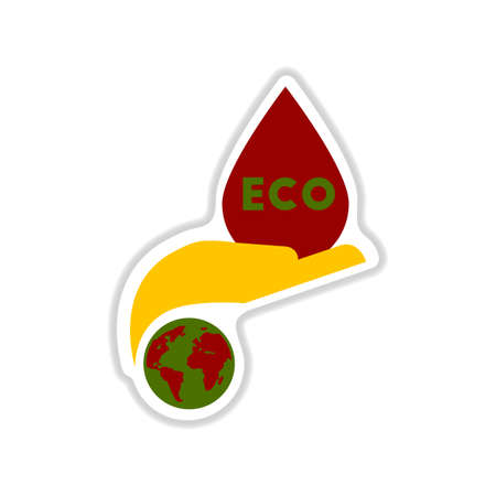 Paper sticker on white background eco symbol