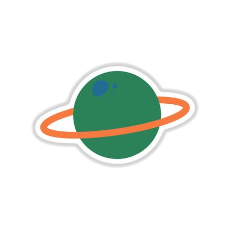 Paper sticker on white background planet Illustration