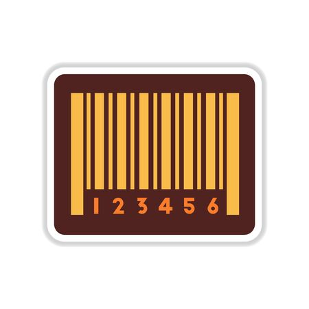 Paper sticker on white background barcode Illustration
