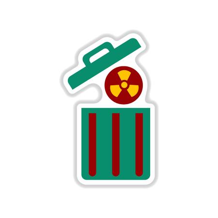 Paper sticker on white background radioactive waste Illustration