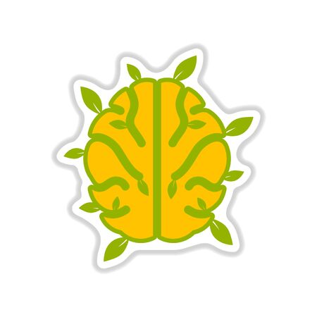 Paper sticker on white background symbol ecological thinking