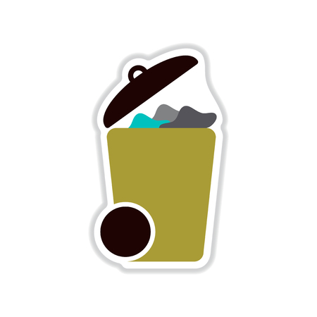 cleared: Paper sticker on white background trash can Illustration