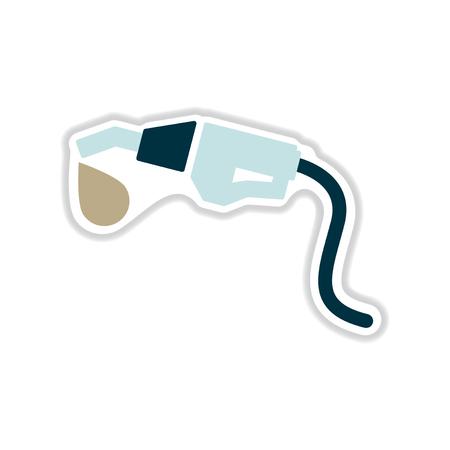 hydrocarbons: paper sticker on white  background gasoline gun