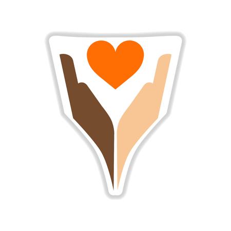 Paper sticker on white  background hands heart Illustration