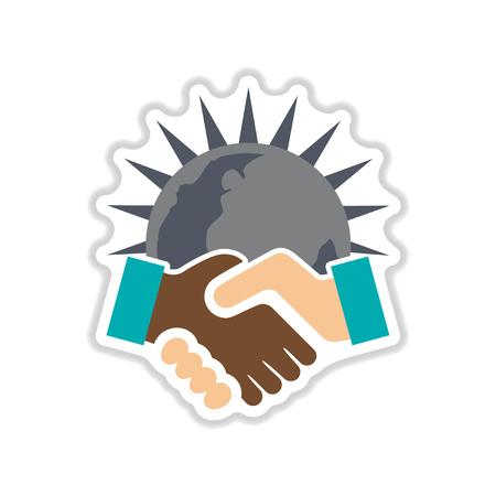 racism: Paper sticker on white  background handshake Earth Illustration