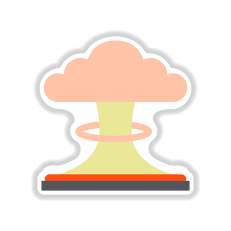 Paper sticker nuclear explosion Illustration