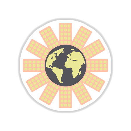 flat earth: Paper sticker on white background Earth house