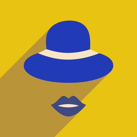 Flat icon with long shadow female hat lips