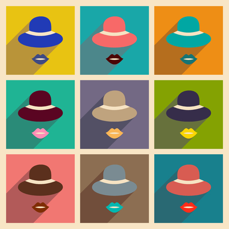 Modern flat icons vector collection with shadow hat lips
