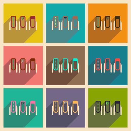 La raccolta moderna delle icone piane con le donne dell'ombra manicure. Archivio Fotografico - 88966569