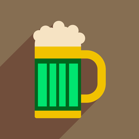 Flat web icon with long shadow glass of beer.