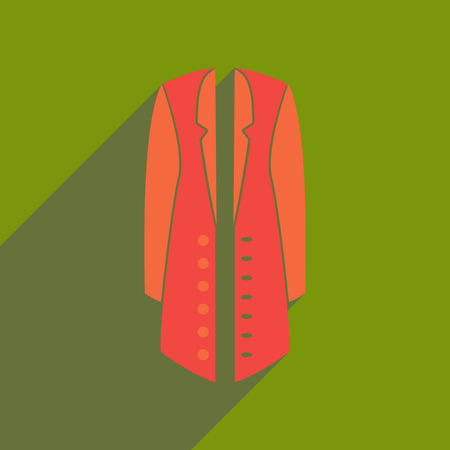 Flat icon with long shadow woman coat. Illustration