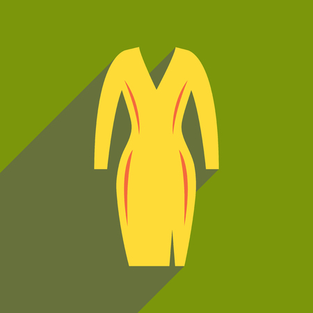 dress form: Flat icon with long shadow elegant dress. Illustration