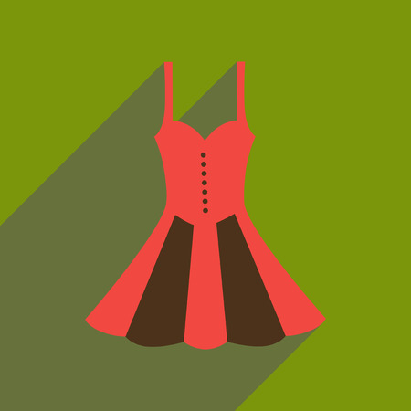 Flat icon with long shadow elegant dress. Illustration