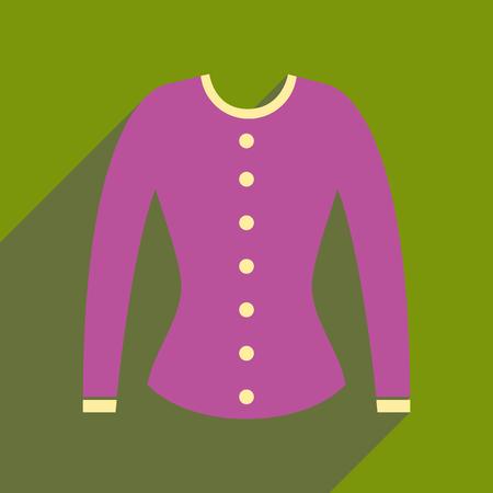 Flat icon with long shadow women cardigan.