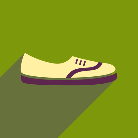 Flat icon with long shadow moccasin shoes.