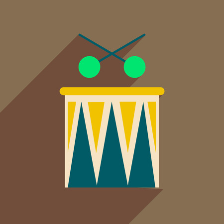 Flat web icon with long shadow carnival drums.