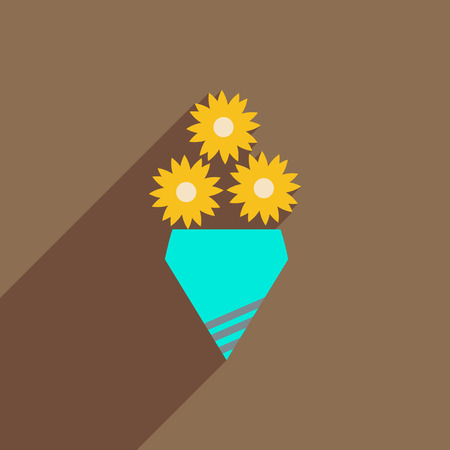 Flat icon with long shadow bouquet of flowers.