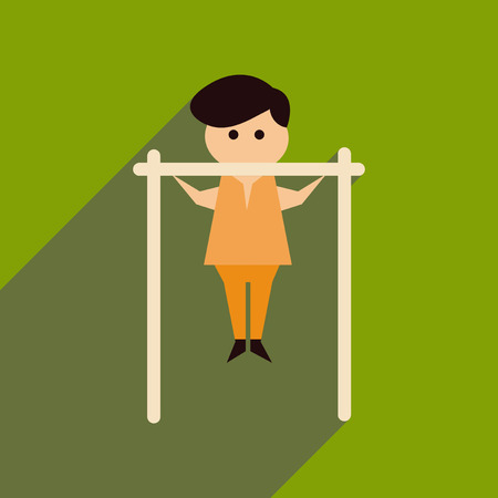 Flat web icon with long shadow of man horizontal bar on green background.