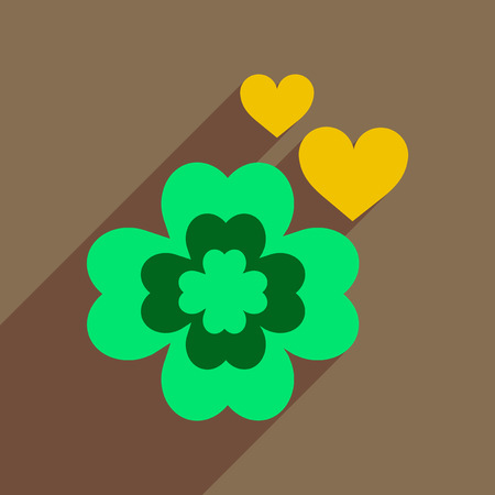 Flat web icon with long shadow clover