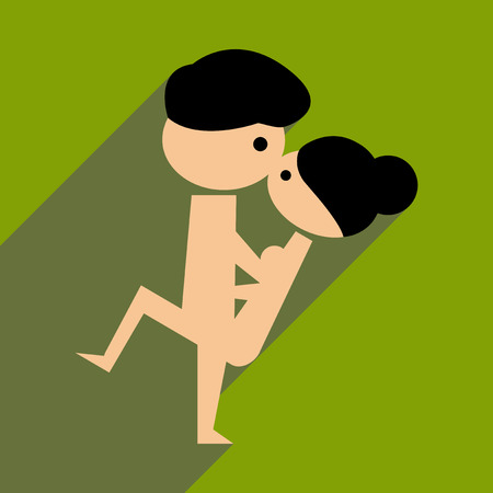 Flat web icon with long  shadow Kamasutra  Illustration
