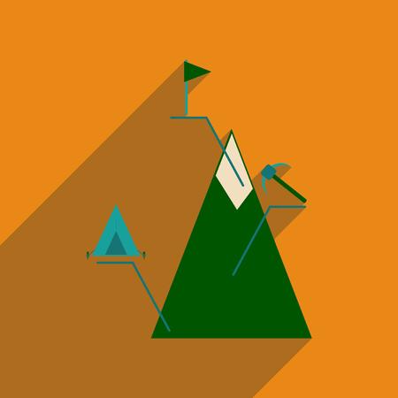 hiking trail: Mountain flat line icon.