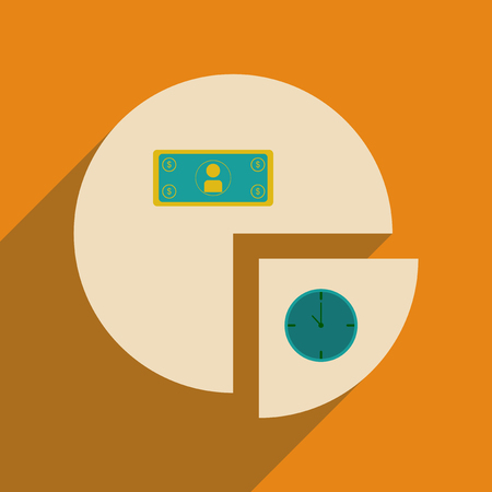 Time and money chart flat line icon. Illustration
