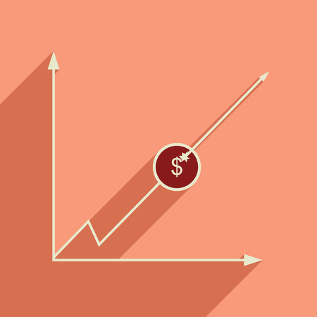 Flat web icon with long  shadow economic graph.
