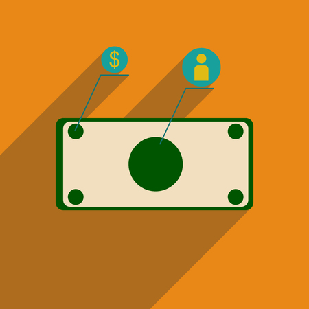 Flat web icon with long  shadow banknote infographics.