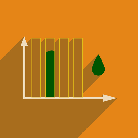 Flat web icon with long shadow water chart