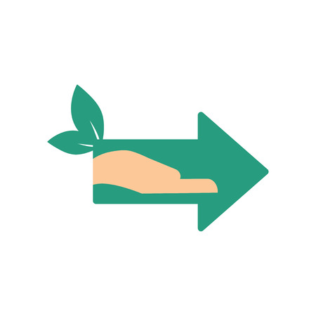 Green arrow pointing to the right. Illustration