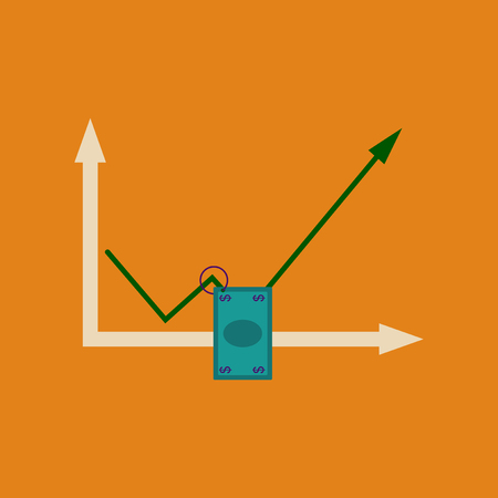 Flat web icon on stylish money graph. Illustration