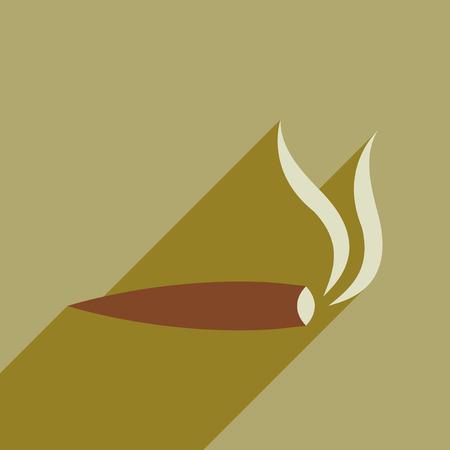 Flat web icon with long shadow of marijuana cigarette. Illustration