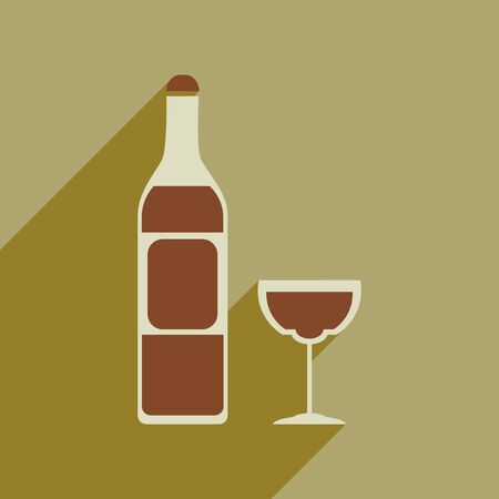 Flat web icon with long shadow of glass of wine bottle.