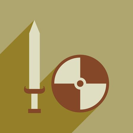 Flat web icon with long shadow sword shield
