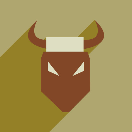 Flat web icon with long shadow bull Illustration