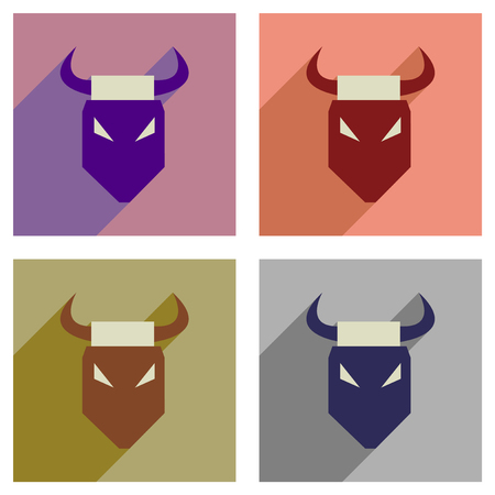 Concept of flat icons with long shadow bull