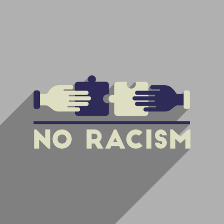 Flat web icon with long shadow racism fight. Illustration