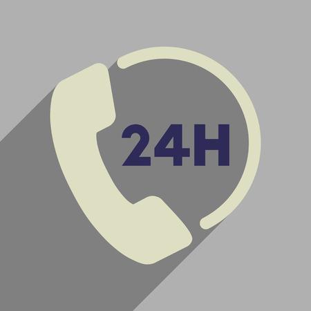 Platte web pictogram met lange schaduw hotline.