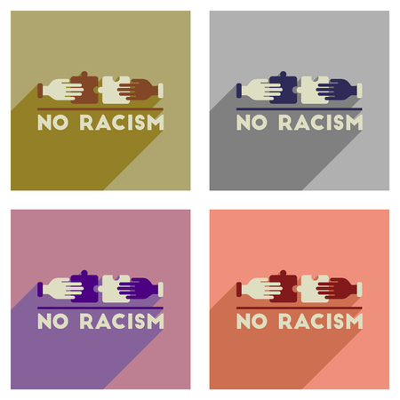 Concept of flat icons with long shadow racism fight