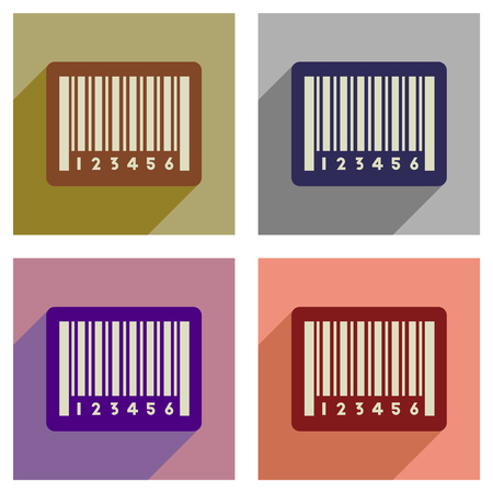 Concept of flat icons with long shadow bar code