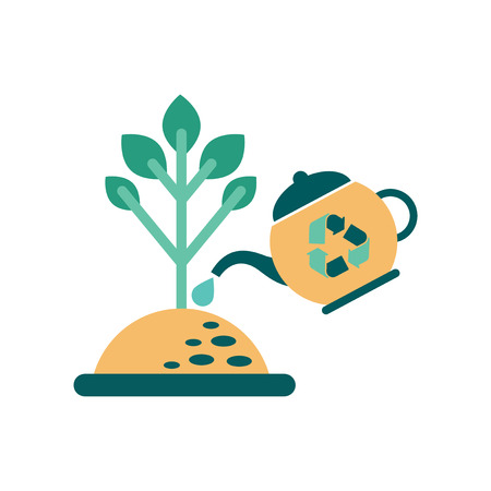 flowerpots: Flat web icon on white  background  watering fertilizer