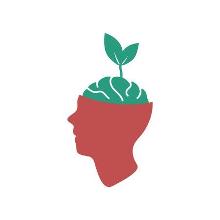 Flat web icon on white  background eco thinking Illustration