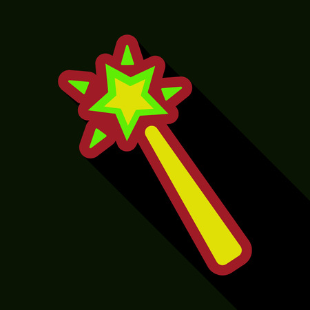Flat icon with shadow Magic wand