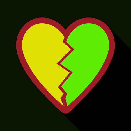 Flat icon with shadow broken heart