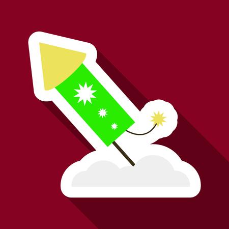 banger: Flat Icon with shadow firework rocket. Illustration