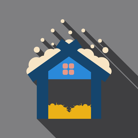 Flat icon with shadow Old wooden barn with haystacks Illustration
