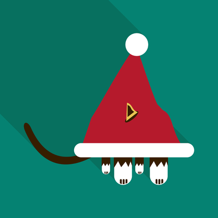 morose: cat in the hat of Santa Claus. Vector icon