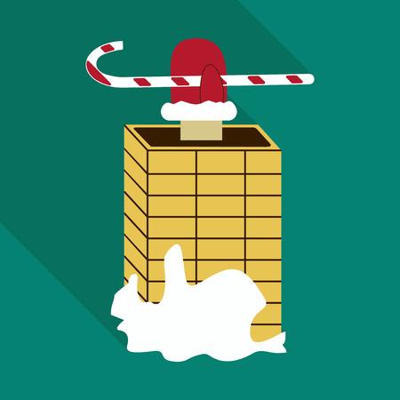 Santa Claus climbs down the chimney. Funny colorful cartoon vector illustration Illustration